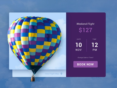 Hot Air Balloon Ride screen ride adventure time pricing booking clouds sky web ui card hot air balloon