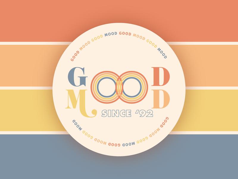 GOOD MOOD since '92 mood stripes circle retro good vibes primaries typogrpahy good mood coaster