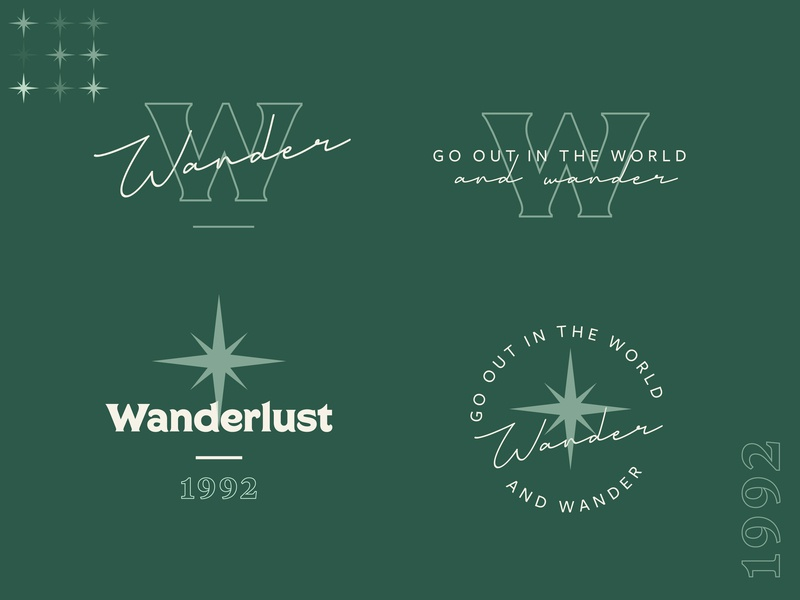 Wander. illustration icon vector badge design typography star green emerald wander starburst wonderlust wonder logotype black white creative script logotype logo lock up brand mark branding