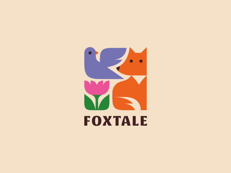 Foxtale cute animal branding logo flower bird fox tale