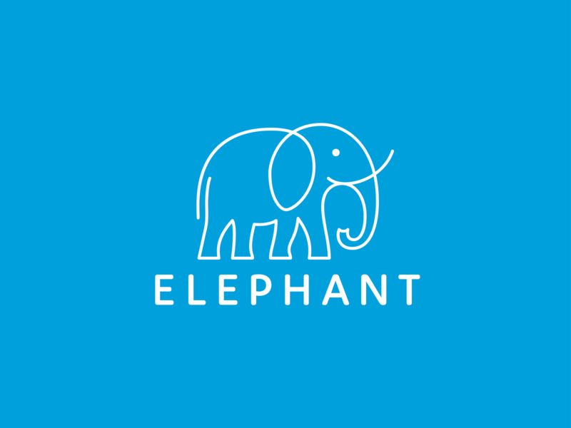 Elephant unused travel monoline logo line-art elephant branding