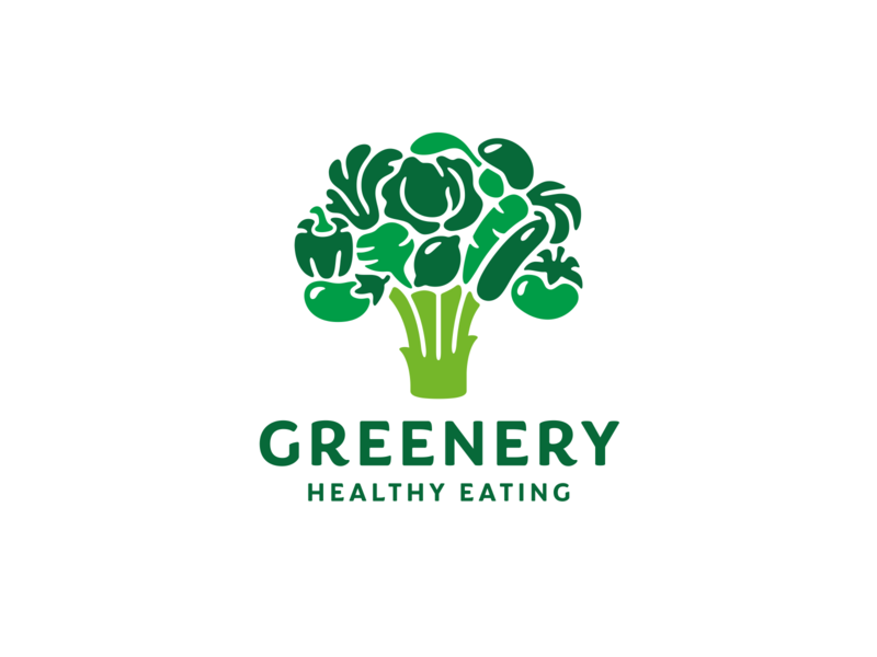 Greenery tree branding logo broccoli eggplant pepper beets cabbage lemon basil mushroom carrot cucumber tomato vegan organic green vegetables food healthy