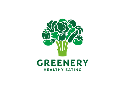 Greenery tree branding logo broccoli eggplant pepper beets cabbage lemon basil mushroom carrot cucumber tomato vegan organic green vegetables food healthy