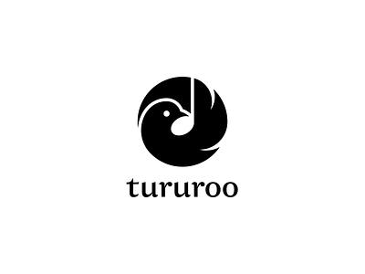 Tururoo bird note negative space elegant branding logo