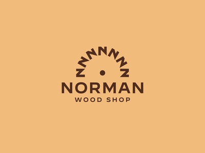 Norman Wood Shop wood negative space saw circular n branding logo