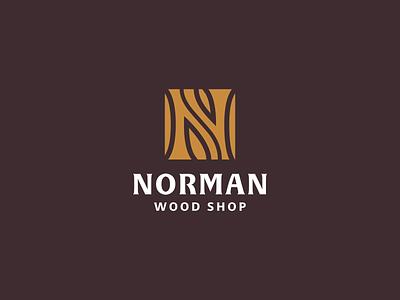 Norman Wood Shop texture wood mongram n branding logo