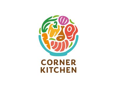 Corner Kitchen bowl carrot pepper fish salmon meat steak chicken onion branding logo