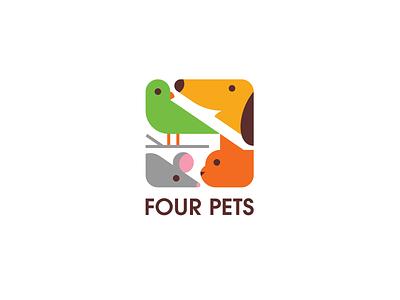 Four Pets logo bird mouse dog cat pet