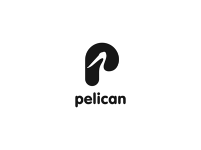 Pelican negative space p advertising agency pelican bird ru-ferret ferrethills nikita lebedev logo