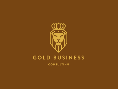 Gold Business lion shield crown gold business consulting ru-ferret ferrethills nikita lebedev logo