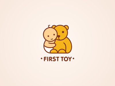 First Toy boy toy game bear cute rounded ru-ferret ferrethills nikita lebedev logo
