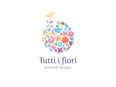 Tutti i fiori butterfly floristics flowers gentle green organic ru-ferret ferrethills nikita lebedev logo