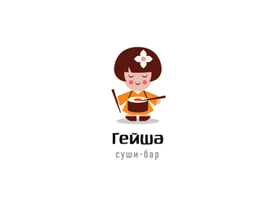 Geisha ru-ferret ferrethills nikita lebedev girl friendly sushi roll drum cute geisha logo
