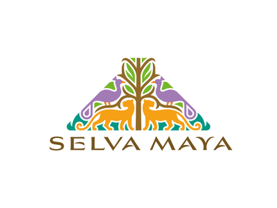 SELVA MAYA logo symmetry jungle ceiba world tree pyramid maya fauna flora big cats peacock