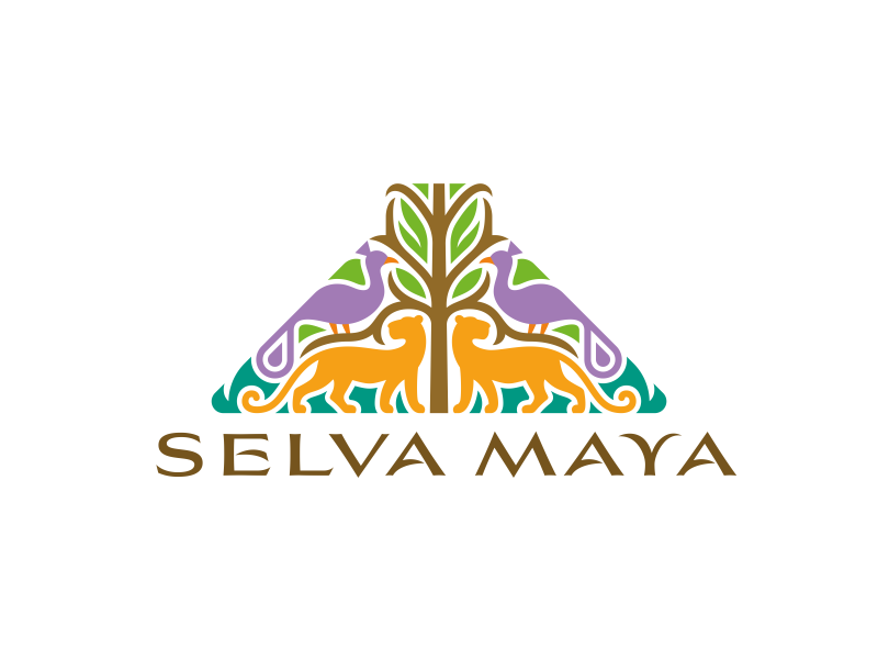 SELVA MAYA logo symmetry jungle ceiba world tree pyramid maya fauna flora big cats peacock