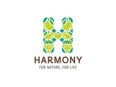 Harmony branding logotype logo green dessert vegan strawberry apple pear berries fruit balance harmony h