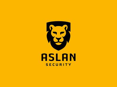 Aslan security logo branding lion shield illustraion