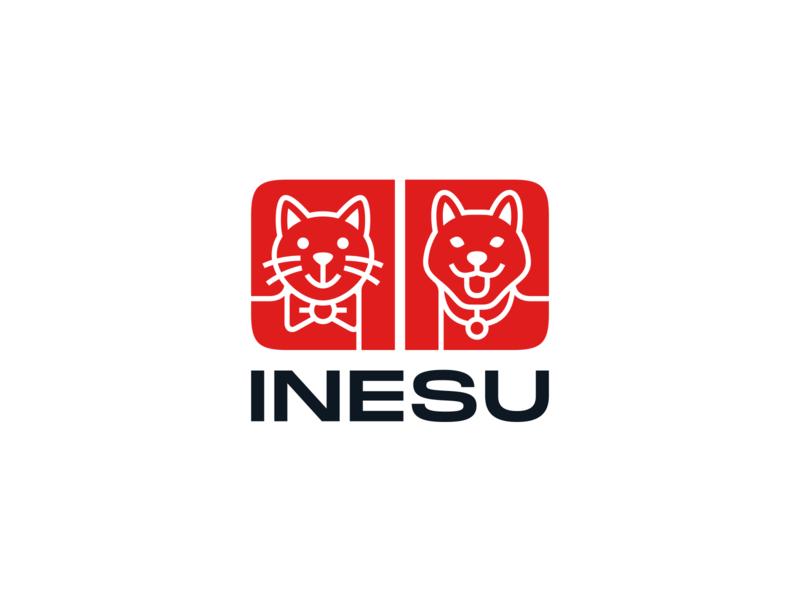 INESU japanese branding logo collar bow seal pet food cat dog
