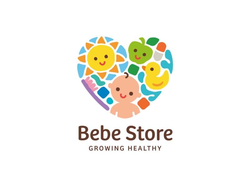 Bebe Store branding logo baby heart apple pill sun sky water toothbrush cubes