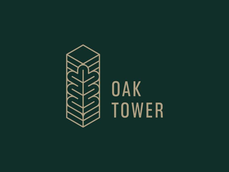 Oak Tower building construction line branding logo luxury simple elegant tower oak