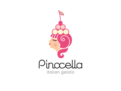 Pinocella branding logo ligature cherry sweet girl retro italian ice-cream