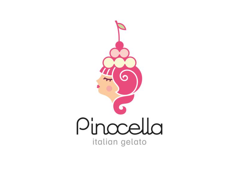 Pinocella branding logo ligature cherry sweet girl retro italian ice-cream