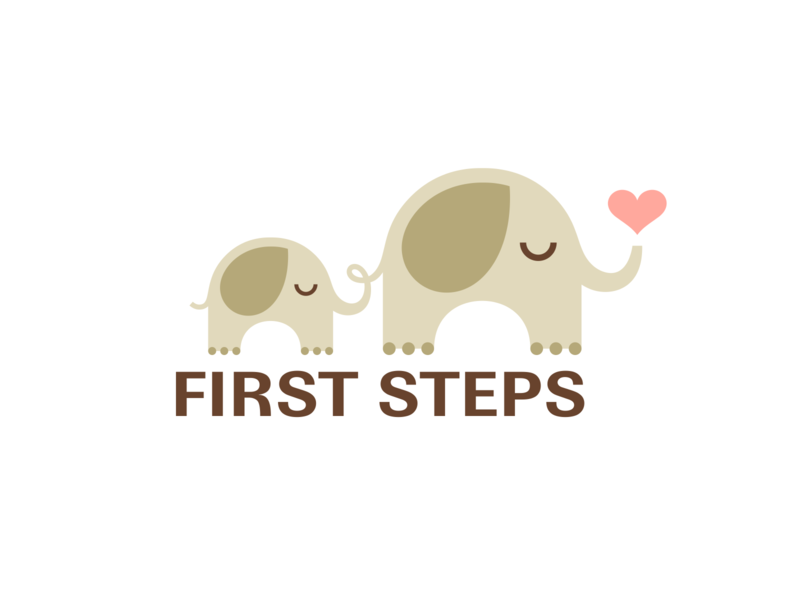 First Steps cute child mother steps first toy kids animal heart love elephant branding logo