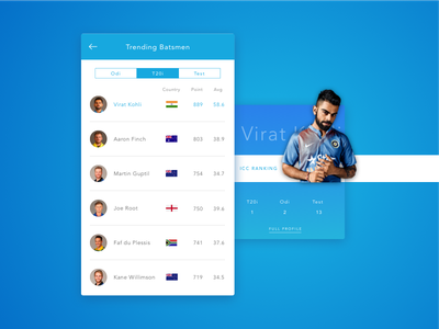 Daily UI#19 Leaderboard ui minimal list leadboard cricket day19 dailyui clean