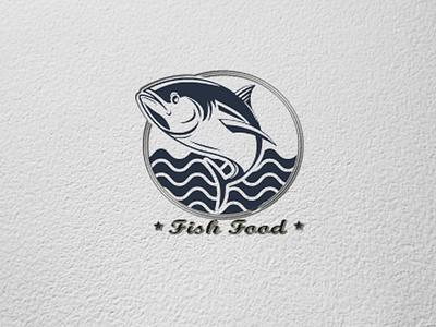 Fish food illustration design logo