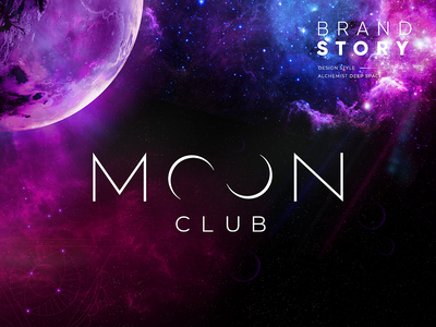 Moonclub - Brand Story logo design party moon moonlight space graphics print brand identity brand design