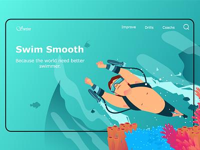 Swim website ux design uidesign webdesign user experience userinterface designs adobe xd illustrator uxui uiux web website