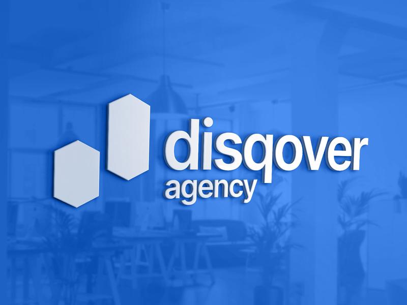 Disqover Agency sign signboard interior branding office logotype logo