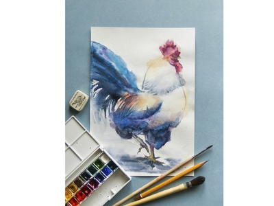 Rooster watercolor rooster watercolor cut paints bird freehand drawing watercolor picture