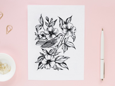 Spring. Dotwork liner picture tattoo freehand drawing gel pen nature flower bird springtime bird in flowers bird on the tree spring flowers