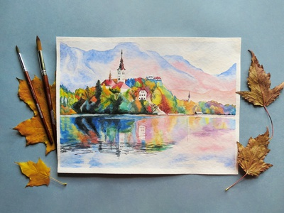 Landscape watercolor architecture picture beautiful landscape freehand drawing lake sight scenery watercolor