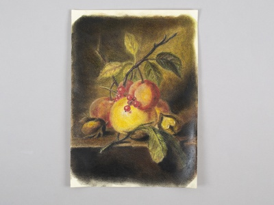 Dutch still life with pastels picture nuts fruit freehand drawing pastel pencils still life pastel