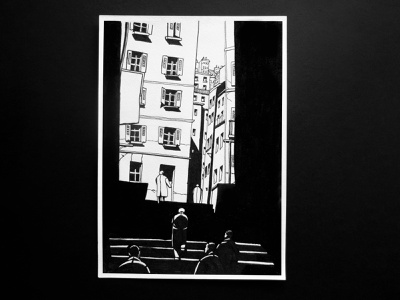 Sunny street. Graphic arts sunny day street city picture black and white drawing architecture markers graphic arts