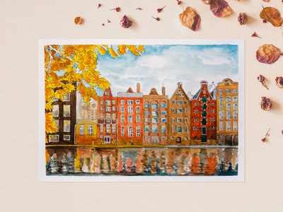 Autumn in Amsterdam illustration cityscape scenery leaves embankment water sketch city sketch graphic arts freehand drawing liner travels city watercolor autumn picture