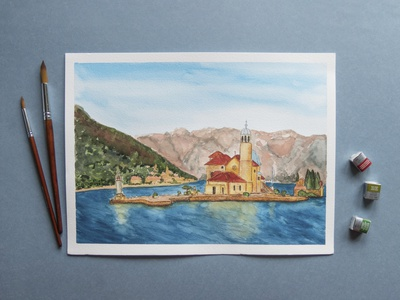 Montenegro watercolor illustration nature freehand drawing picture watercolor architecture bay water sea