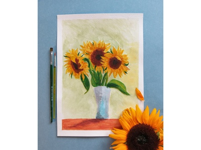 Bright sunflowers acrylic acrylic paint sunny sun yellow colour still life flowers illustration illustration flower botany nature pictures picture freehand drawing sunflowers