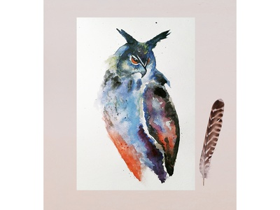 Owl watercolor illustration predatory bird nature bird eagle-owl watercolor owl drawings picture freehand drawing