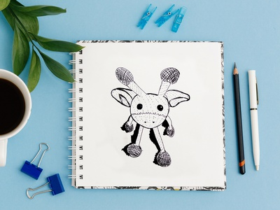 Giraffe sketch quick sketch character the character sketch marker drawing marker freehand drawing liner giraffe toy illustration