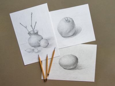 Outline hatch pencil subjects onion egg vegetables food shading training quick sketch sketch freehand drawing illustration