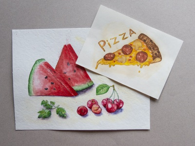Favorite food merry berries cherry watermelon liner watercolor food graphics sketch freehand drawing illustration pizza