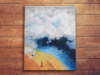 Plane and clouds scenery flight canvas acrylic water clouds aircraft sky freehand drawing illustration