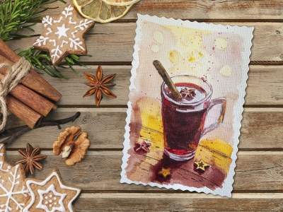 Spicy mulled wine watercolor picture hot mulled wine holiday new year christmas card christmas spicy wine mulled wine freehand drawing illustration