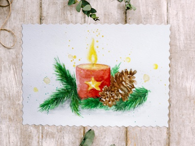 Christmas candle watercolor picture holidays holiday new year freehand drawing illustration burning candle checking the tree christmas christmas tree tree candle