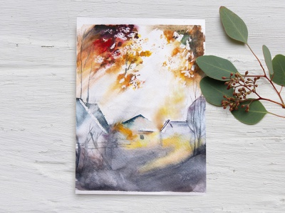 Autumn colors watercolor picture freehand drawing illustration sun lights of a sun autumn colors shine village autumn