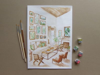 Interior watercolor picture freehand drawing illustration interior