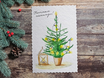 Happy Holidays postcard holidays holiday design holiday new year christmas tree christmas card christmas postcard watercolor picture freehand drawing illustration